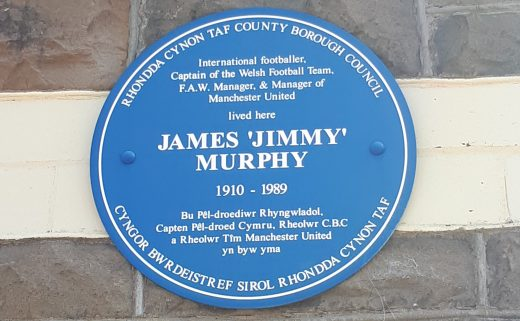 Plaque in Pentre for Jimmy Murphy