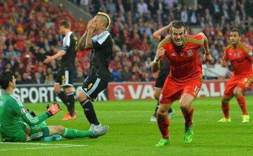 Gareth Bale scores against Belgium in 2015