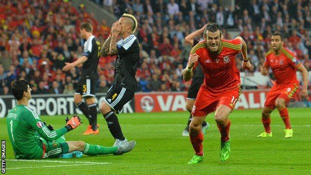 Gareth Bale scores against Belgium in 2015